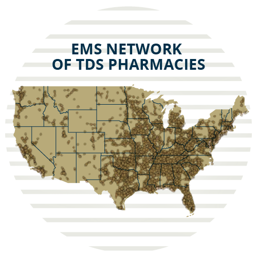 icon of a heatmap of the united states showing enhanced medication services network of tds pharmacies